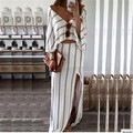 Women Sexy Long Sleeve Bodycon Playsuit Clubwear Jumpsuit Long  Skirt Striped