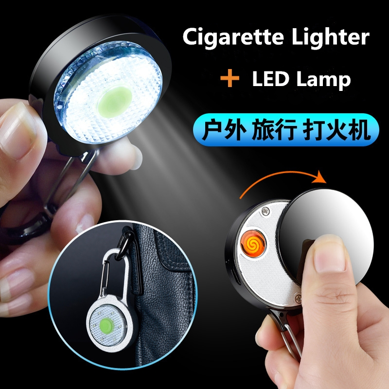 USB Electronic Cigarette Lighter Led Flameless Cigarette Plasma Arc Lighter With LED Light Outdoor Camping Climbing Bag Button