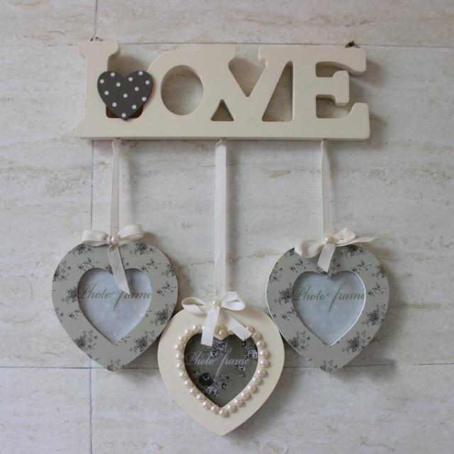 LOVE Theme Heavy Duty Wooden Creative Modern Photo Wall with 3 Heart ...