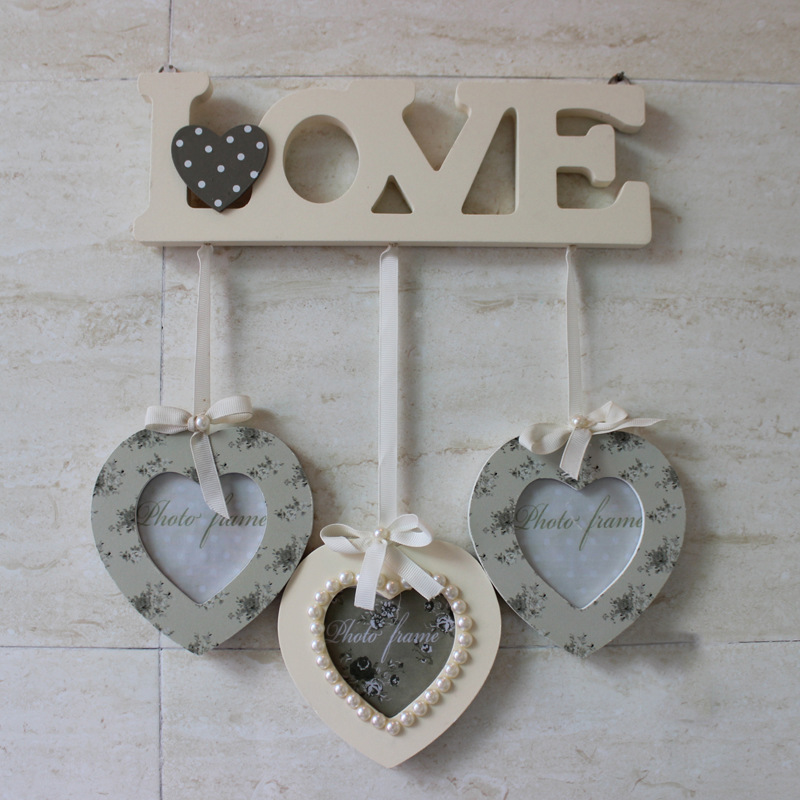 Buy LOVE Theme Heavy Duty Wooden Creative Modern Photo Wall with 3 Heart Frames Pearl Bow Tie Photo Frame Wooden Combination Frame