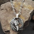 1pcs vikings pendant necklace norse raven pendant necklace odins pendant huginn and muninn unisex jewelry with 50cm metal chain
