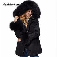 2017 реальная большой енот меховой воротник с капюшоном зимняя парка Для женщин куртка черный длинный тонкий пальто