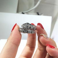 Pure 925 Sterling Silver Jewelry snake ring For Women Wedding zircon Design animal party ring Silver adjust luxury brand jewelry