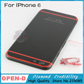 """HQ Для iPhone6 4.7 """"Limited Edition черный с красной линии Замена Ближний Рама Задняя Крышка Корпуса С ЛОГОТИПОМ для iPhone 6"""