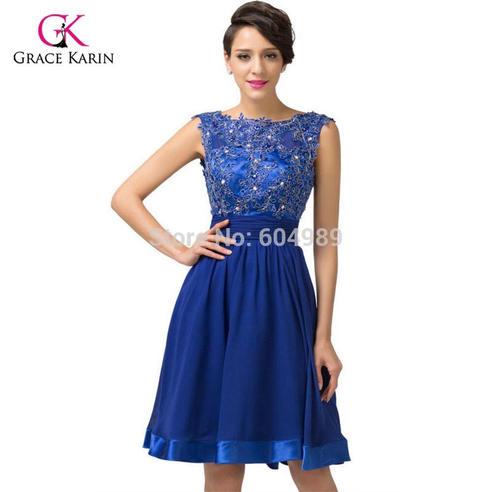 2018 luxury robe de Cocktail Dresses Grace Karin Backless Royal Blue ...