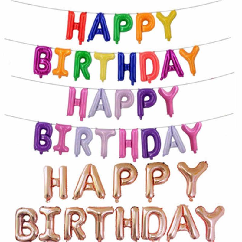 13 sztuk balony urodzinowe litery alfabetu wiszące dekoracje na imprezę urodzinową dla dzieci różowe złoto czerwone różowe balony foliowe Garland