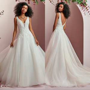 Image 1 - Свадебное платье из шелковистой органзы, роскошное кружевное свадебное платье с открытой спиной, ТРАПЕЦИЕВИДНОЕ ПЛАТЬЕ со шлейфом, 2019