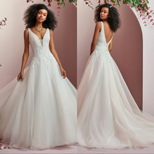 Silky Organza Luxury lace Bride Wedding Dress 2019 new Sexy Backless A Line Bridal Gown with Court Train Vestido de novia