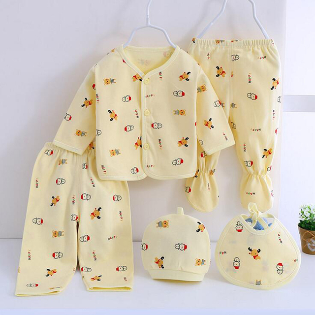 Bekamille 2018 Newborn Baby Clothing Set (5pcs/set) 0-3M Baby Boys/Girls Clothes Cotton Cartoon fashion Baby Accessories