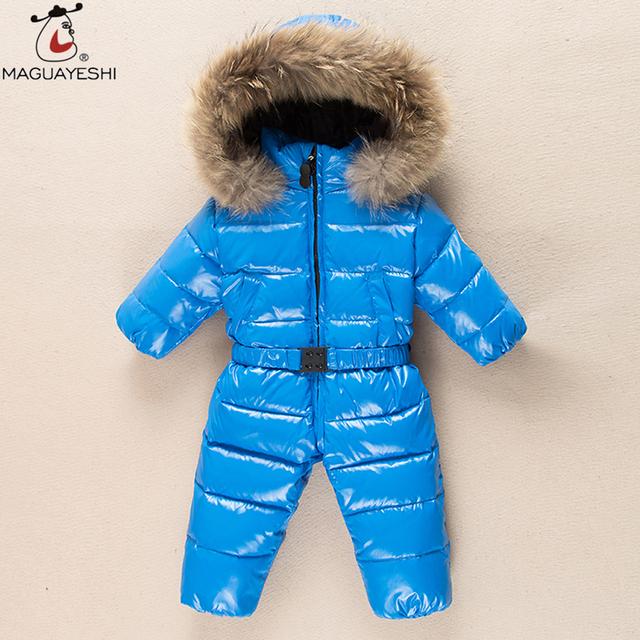 Invierno Niños Bebés Mamelucos Gruesos Niño Outwear Abajo Chaqueta de Los Niños Ropa de Bebé Traje Para La Nieve del Juego de Esquí Infantil Mono Traje