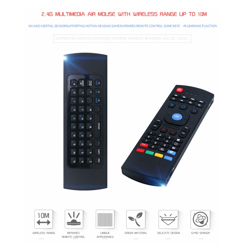 Wireless Qwerty Keyboard for Smart TV box KODI XBMC MXQ MX3 M8S+T8 QBox 2.4GHz TV Android Wireless Remote Control Fly Air Mouse image