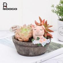 Roogo American Style Flower Pots Resin Flowerpot For Home Garden Decoration Wood Bonsai Pot Succulents Plants Orchids Cactus