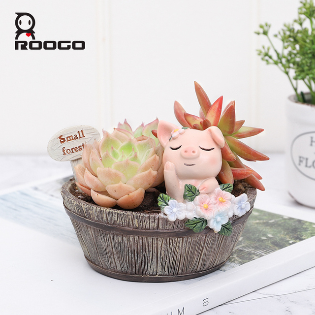 Roogo American Style Flower Pots Resin Flowerpot For Home Garden Decoration Wood Bonsai Pot Succulents Plants Orchids Cactus