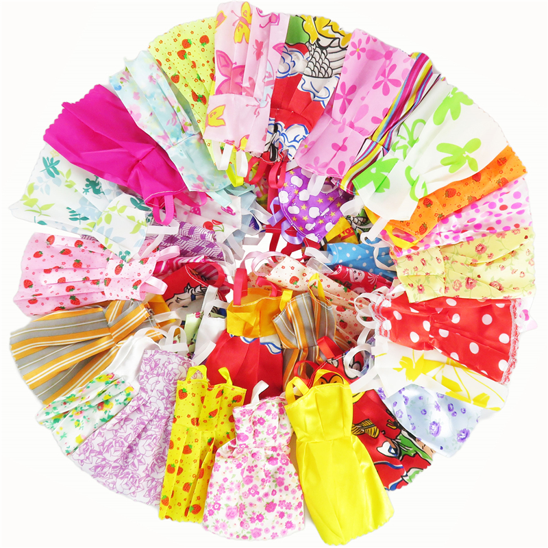 Random 12 Pcs Barbie Dolls Dress Mixed Sorts Handmade Beautiful Fashion Party Clothes For Barbie Doll Kid's Gift Girl's Toys