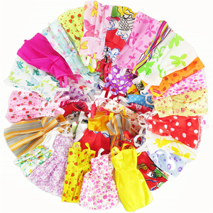 Random 12 Pcs Dolls Dress Mixed Sorts Handmade Beautiful Fashion Party Clothes For Barbie Doll Kid's Gift Girl's Toys