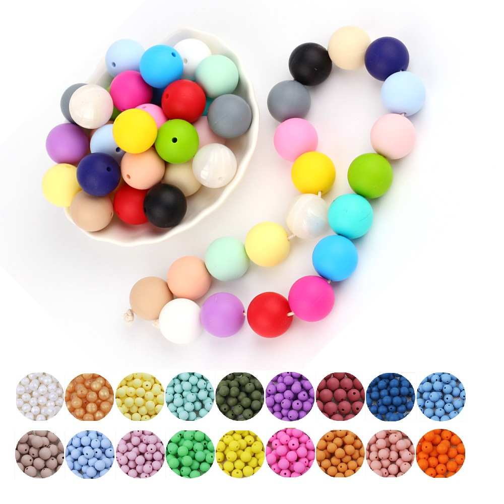 TYRY HU 1000pcs Lot Silicone Teething Beads Baby Chewable Pacifier Clips 15mm Beads Food Grade BPA