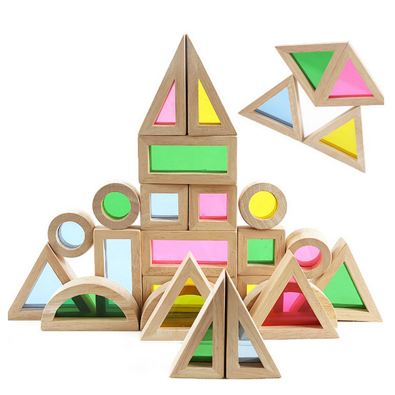 1-1 Super Creative  Rainbow Educational Toy Tower Pile of Building Blocks for Children Diy Wooden Assemblage Building Block sun idea ek diy06 g diy creative handgun style handcraft wooden kid s educational toy beige
