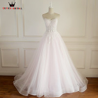 Maatwerk A-lijn Sweetheart Strapless Lace Tulle Lange Formele Elegante Bruidsjurken Huwelijk Bruidsjurken LP12