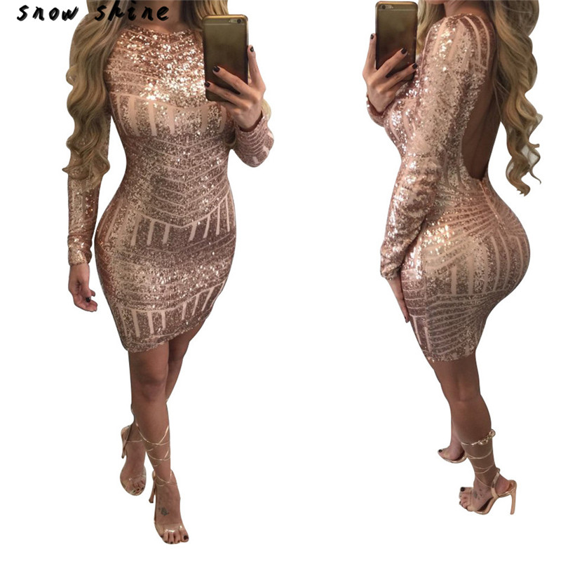 snowshine YLI Women Sexy Fashion Long Sleeves Sequined Leakback Backpack Hip Dress FREE SHIPPING