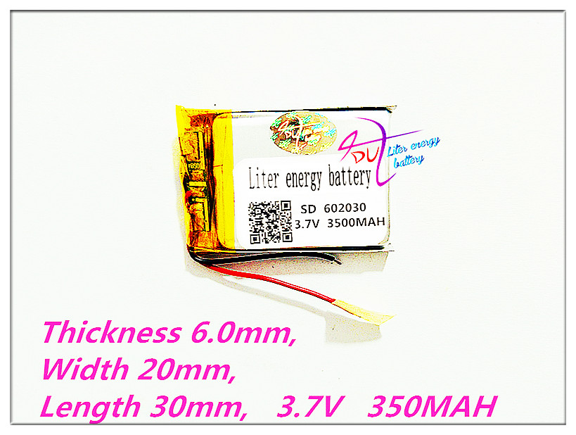 free shipping 602030 3.7V 350MAH lithium-ion polymer battery quality goods quality of CE FCC ROHS certification authority