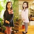 2016 girls clothes clothing sets pajamas bow stripped two pieces dark blue pink long sleeves roupas infantil meninas conjuntos