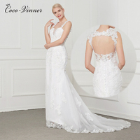 C V Vestidos De Novia Ivory Sexy Open Back Lace Wedding Dress 2017 Vintage Bridal Dress