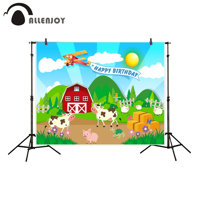 Allenjoy Farm Theme Photography Backdrop Red Barn Animals Barnyard House Kids Birthday Background Photo Studio New