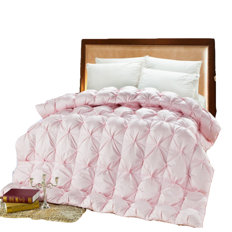 Winter Quilt Goose Down Comforter Pink White Duck Feather Thick Quilt UK Super King Size Thick