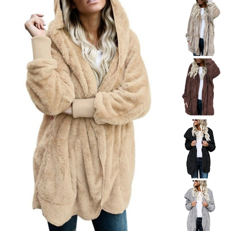 a7b267589 US $12.32 22% OFF|Aliexpress.com : Buy Womens Faux Fur Coat Hooded Cardigan  Jacket Open Front Long Sleeve Solid Color from Reliable Faux Fur suppliers  ...