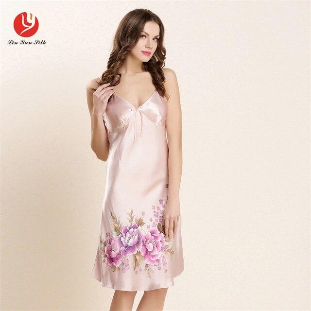 LIN YUN Real Silk Nightgown For Woman Print Sleepshirt Sexy Lady Sleeveless Homewear Silk Thin Strap Sleepwear Women Nightgown