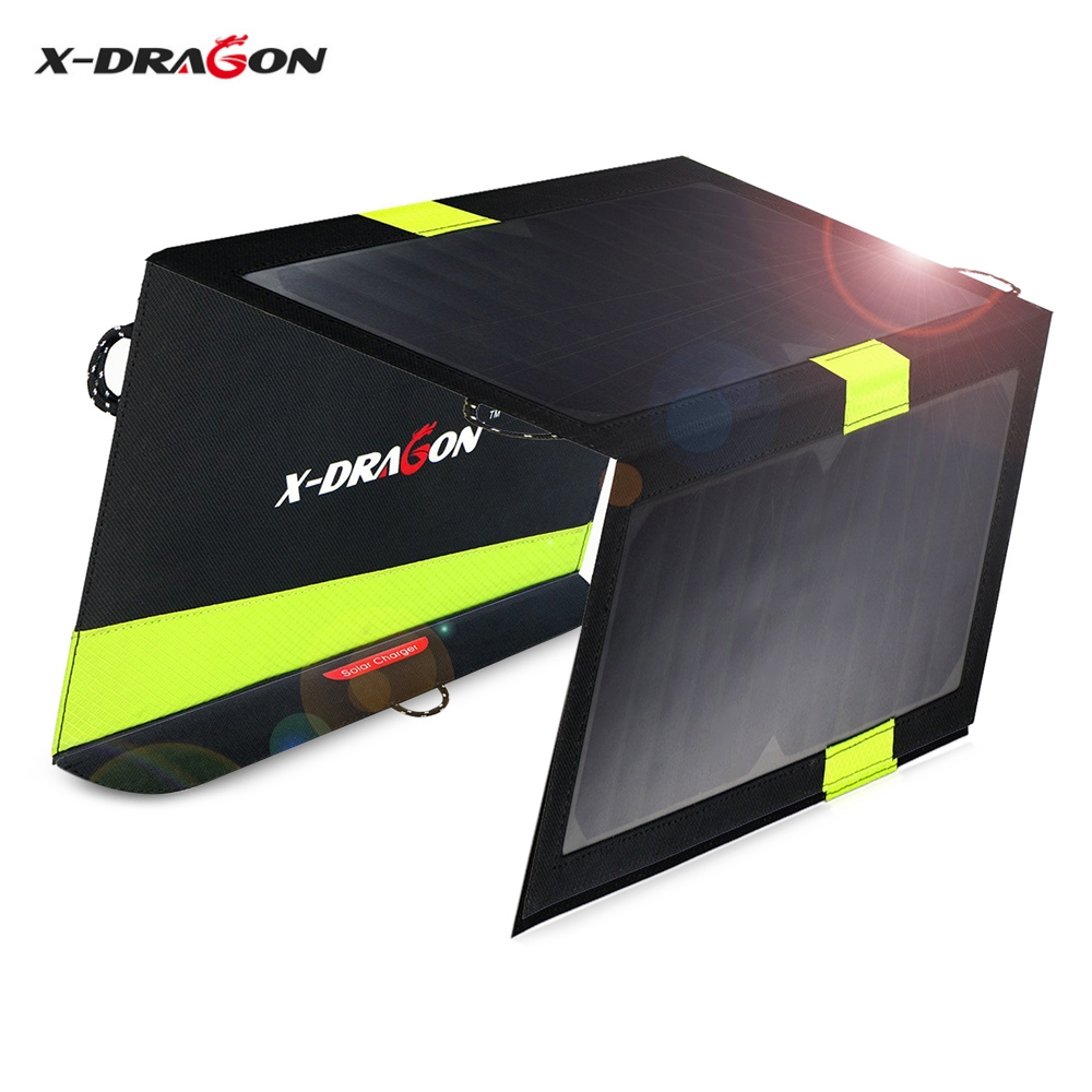 X DRAGON 5V 2 1A 20W Solar Panel Charger Folding Bag Support Dual Outputs iSolar Technology