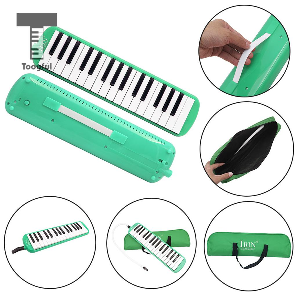 Tooyful High Quality <font><b>32</b></font> Piano <font><b>Keys</b></font> Green <font><b>Melodica</b></font> Musical Instrument for Practice Music Lovers Beginners Gift With Carrying Bag image