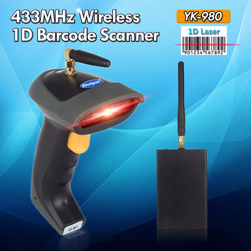 1D Barcode Scanner Wireless 433MHz Laser Portable Scanner 1D Bar Code Handheld Wireless Barcode Scanner 1D Code Reader YK-980 hand held 1d laser barcode scanner yk 960a bar code reader with usb2 0 interface free shipping for pos code laser scanner