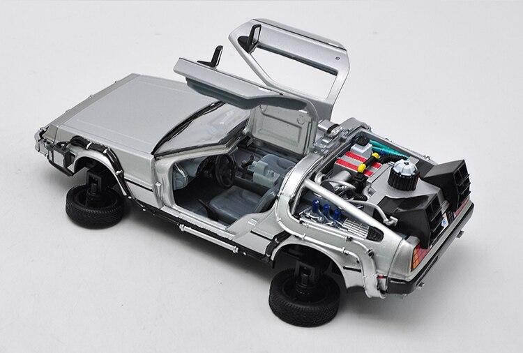 Crianças brinquedos welly 1:24 diecast escala modelo carro filme de volta para o futuro metal brinquedo carro liga clássico carro veículo presente carros com caixa