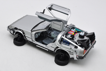 цена на Kids toys WELLY 1:24 Diecast Scale Model Car Movie Back To The Future Metal Toy Car Alloy Classic Car Vehicle Gift Cars with box