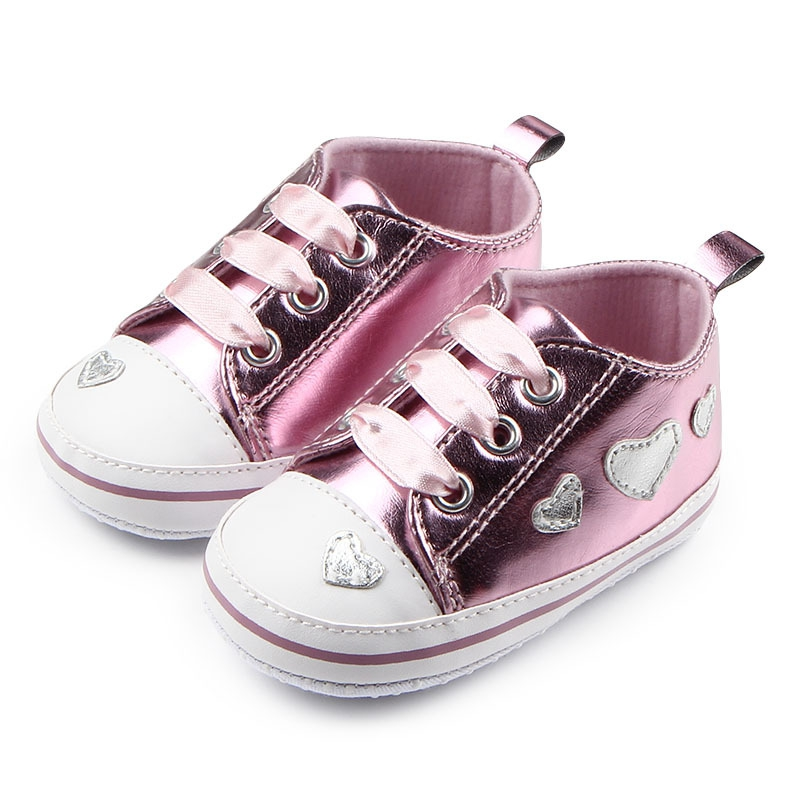 0-18 M Baby Girl Silver Crib Heart Soft Shoes Skidproof Toddlers Infant Baby PU Leather Shoes