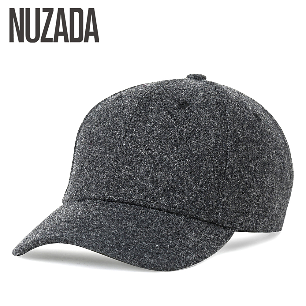 Brand NUZADA Autumn Winter Keep Warm Snapback Bone Men Women Baseball Caps Hats Cap Simpl Color Black Grey Woolen 2017 new solid color baseball cap polo hats for men or women autumn and winter outdoor bone cap hat