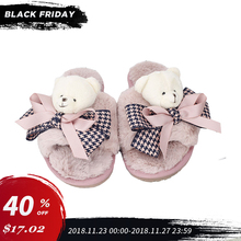купить Shoes Women Winter Home Slippers Plush Exposed Toe Bear Slippers Indoor Faux Fur Non-Slip Soft Cartoon Bedroom Female Flat Shoes по цене 1823.67 рублей