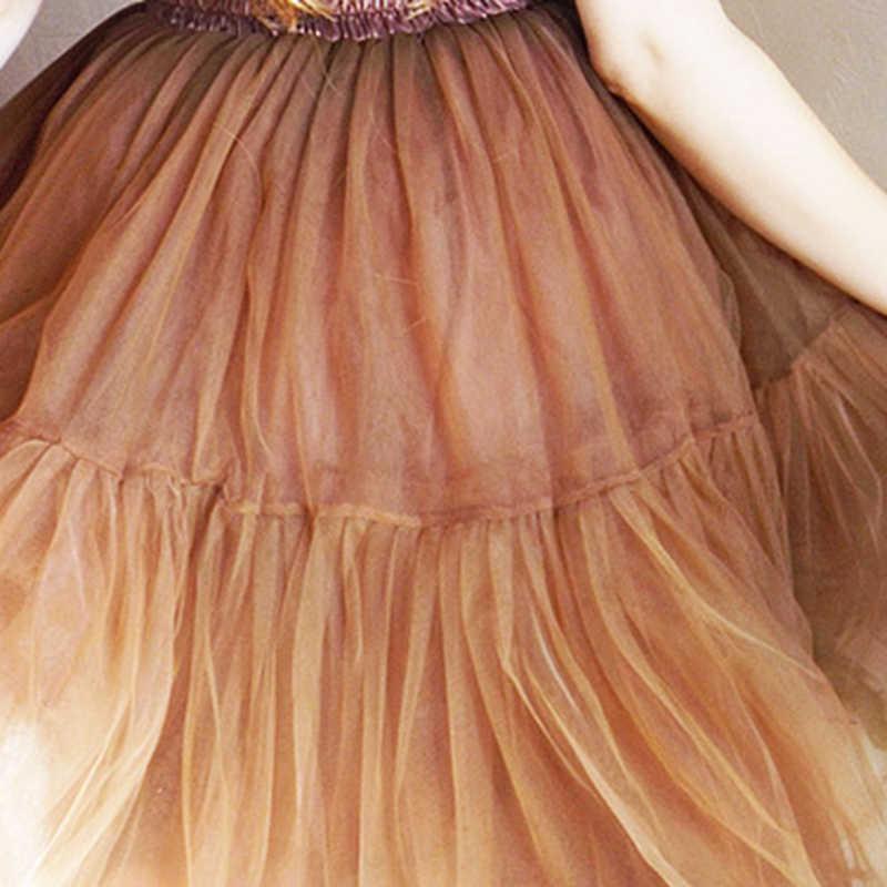 Livraison gratuite 5 couche 2019 Tutu Tulle jupes Midi jupe femmes mode fête conception Saias Femininas formelle Faldas Cortas