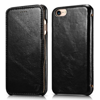 For IPhone 7 Case Genuine Leather Folio Flip Corrected Grain Leather Case Handmade Style With Magnetic