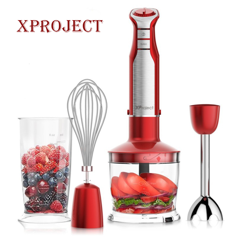 XProject 800W 4-in-1 Hand Blender mixer with 6 Speed,Powerful Immersion Hand Blender for Smoothies Baby Food Yogurt Sauces Soups hand in hand