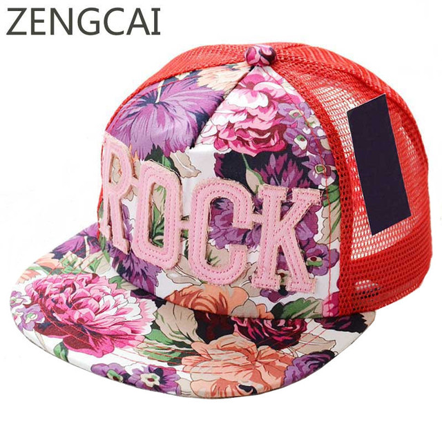 Summer Visor Baseball Cap Flower Kids Snapback Mesh Hat Rock Embroidery Flat Hat Boy Girls Caps Fashion Print Cotton Child Hats