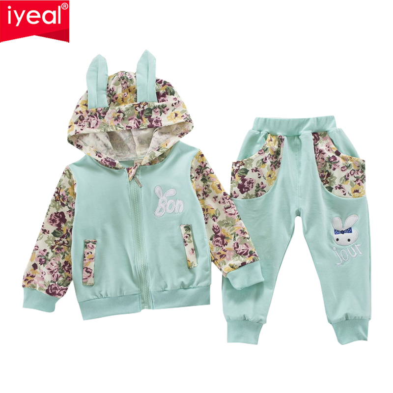 IYEAL New Cute Rabbit Ear Hooded Print Baby Girl Clothes Sets Kids Baby Autumn Toddler Girls Suit for Children Baby Outfit 1-4Y