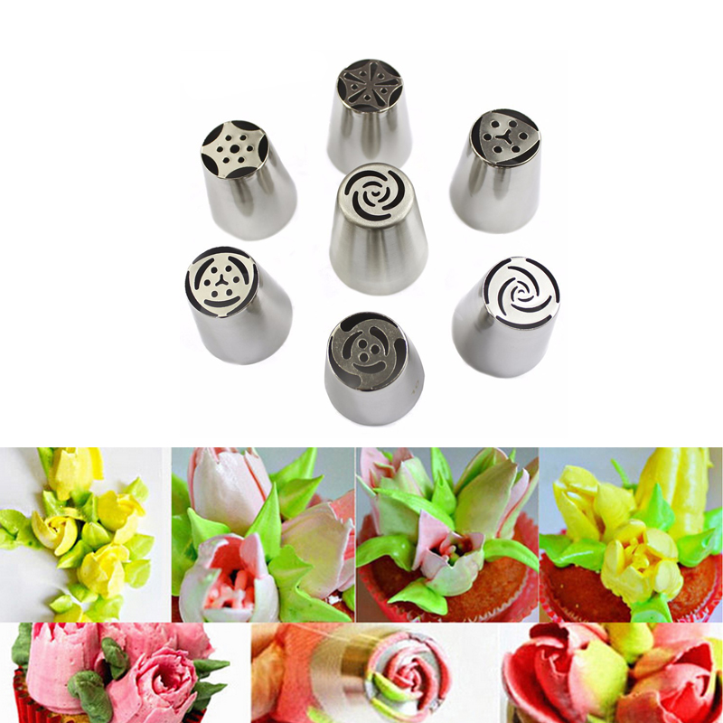 7 pcs/set Big Russian Tulip Pastry Tips Cake Decorating Tools 304 Stainless Steel Cream Piping Nozzles Kitchen Cooking Tools