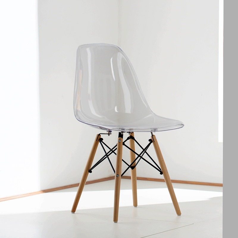 Acrylic Transparent Plastic Chair Cafe Leisure Modern Wood ...