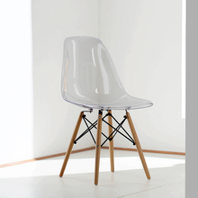 Acrylic Transparent Plastic Chair Cafe Leisure Modern Wood Colored Restaurant Moderne Stoel dining chair(China)