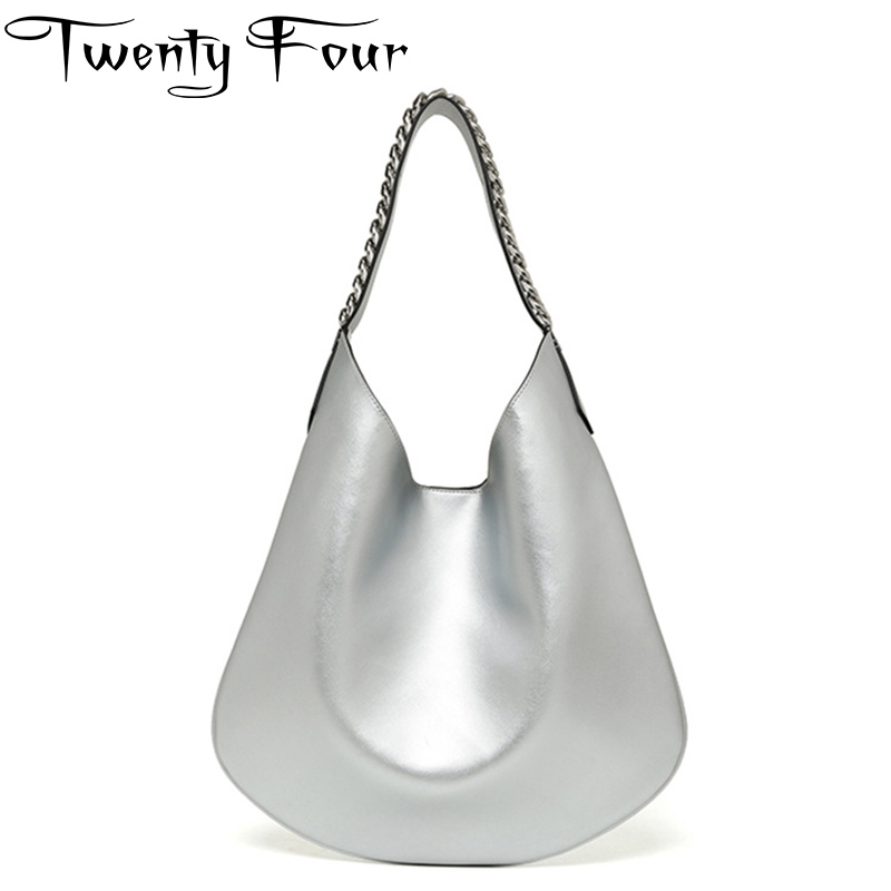 Twenty-four Women Hobo Bags Real Glossy Leather Shoulder Chain Bags High Quality Handbag Casual Tote Female Crossbody Small Bags
