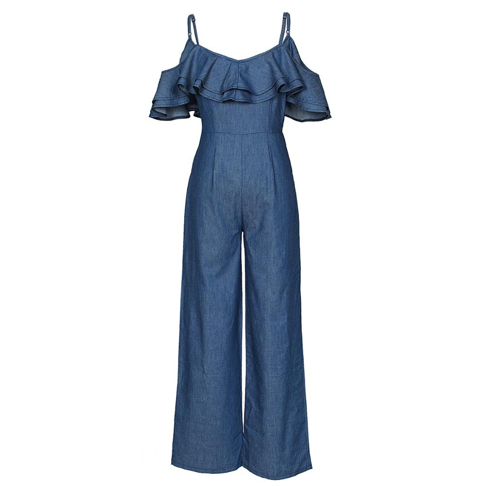 Women Causal   Jumpsuit   Long Ruffle Summer Loose Ruffle Strap Overall Elegant Sexy Holiday Bowknot Blue Denim Jeans   Jumpsuit