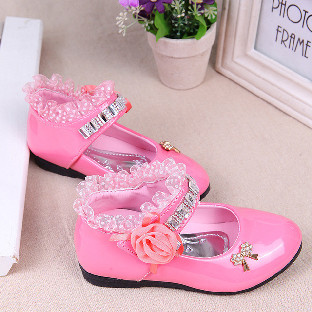 Kids Children Rhinestone Sweet Girls Party Shoes Bowtie Shining Dancing Shoes Lace Decoration Trend Shoes For Kids TX40