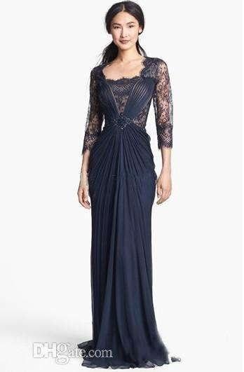 1d2cd234148b5 رائعة التصميم الظلام البحرية الدة العروس فساتين ثلاثة أرباع كم الرسمي فستان  سهرة الشيفون 2017 أحر